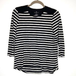 Talbots black & white striped top with lace detail